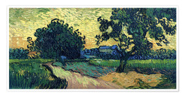 Poster Field with Trees, the Chateau of Auvers