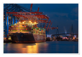 Premium poster  Container ship with Köhlbrandbridge - Sabine Wagner
