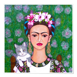 Poster Frida cat lover