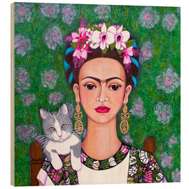 Wood print  Frida cat lover - Madalena Lobao-Tello