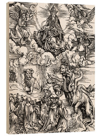 Wood  Seven-headed beast from the sea and the beast with horns lamb - Albrecht Dürer