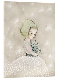 Acrylic print  Little girl with kitten - Paola Zakimi