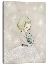 Canvas print  Little girl with kitten - Paola Zakimi