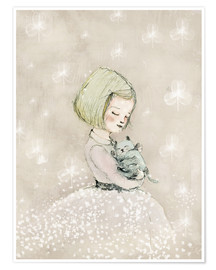 Premium poster Little girl with kitten