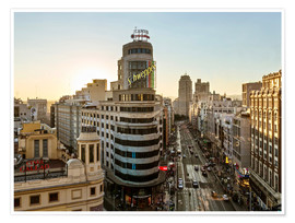 Premium poster  Gran Via at sunset - Matteo Colombo