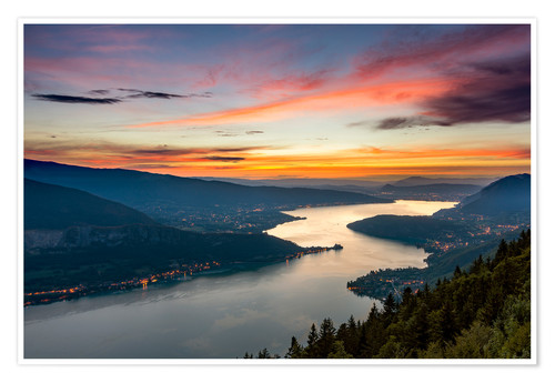 Premium poster Colorful Sunset Annecy