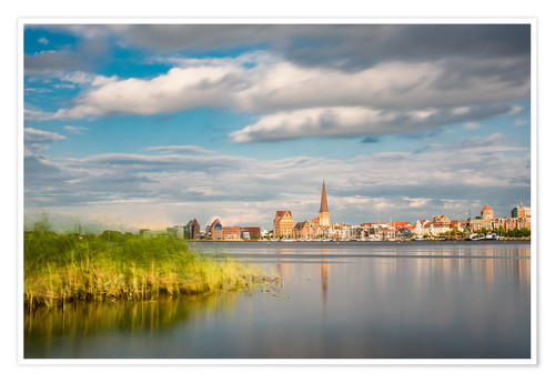 Premium poster View over the river Warnow to Rostock (Germany)