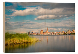 Wood print  View over the river Warnow to Rostock (Germany) - Rico Ködder