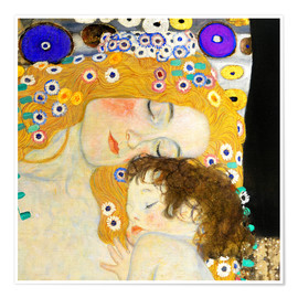 Poster  Mother with child - Gustav Klimt