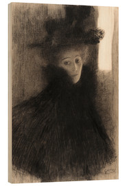 Wood  Portrait of a Lady with Cape and Hat - Gustav Klimt