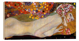 Wood print  Water Serpents II (detail) - Gustav Klimt