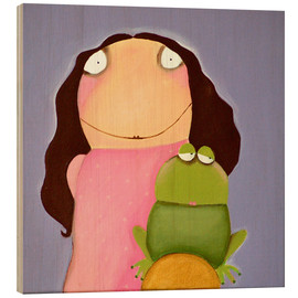 Wood print  The princess of frogs - Theresa Franziska Jänisch