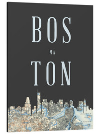 Alu-Dibond  Boston Skyline Map - Amelia Gier