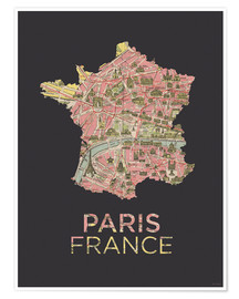 Premium poster Paris France Map Silhouette