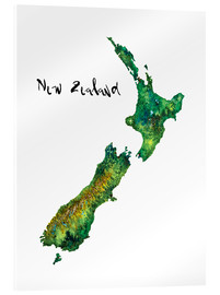 Acrylic glass  Map of New Zealand in watercolour - Ricardo Bouman