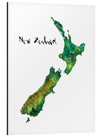 Alu-Dibond  Map of New Zealand in Watercolour - Ricardo Bouman