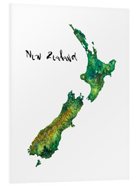 Forex  Map of New Zealand in Watercolour - Ricardo Bouman