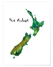 Premium poster  Map of New Zealand in watercolour - Ricardo Bouman