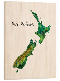 Wood print  Map of New Zealand in watercolour - Ricardo Bouman