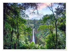 Poster Rainforest and Waterfall, Costa Rica