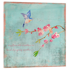 Acrylic print  Bird chirping - Spring and cherry blossoms - UtArt