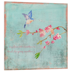 Foam board print  Bird chirping - Spring and cherry blossoms - UtArt