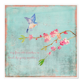 Premium poster  Bird chirping - Spring and cherry blossoms - UtArt