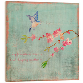 Wood print  Bird chirping - Spring and cherry blossoms - UtArt