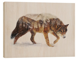 Wood print  Arctic wolf - Andreas Lie