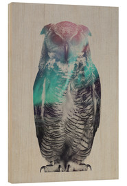 Wood print  Owl in the aurora borealis - Andreas Lie