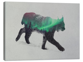Canvas print  Lynx in the aurora borealis - Andreas Lie