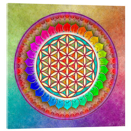 Acrylic print  Flower of Life, Rainbow Lotus Artwork I - Dirk Czarnota