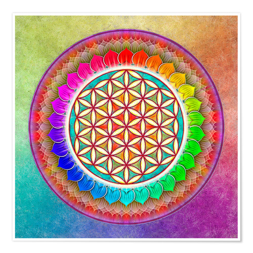 Premium poster Flower of Life, Rainbow Lotus Artwork I