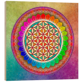 Wood  Flower of Life - Rainbow Lotus Artwork I - Dirk Czarnota