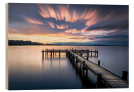 Wood print  Sunset at Chiemsee - Sebastian Jakob