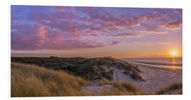 Foam board print  Sunset beach at Zeeland the Netherlands - Remco Gielen
