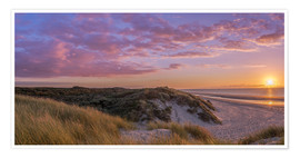 Premium poster Sunset beach at Zeeland the Netherlands