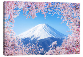 Canvas print  Mount Fuji in Japan during the cherry blossom in spring - Jan Christopher Becke