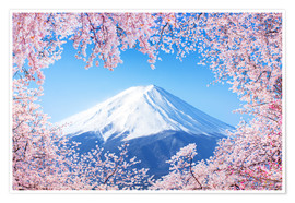 Poster  Mount Fuji in Japan during the cherry blossom in spring - Jan Christopher Becke