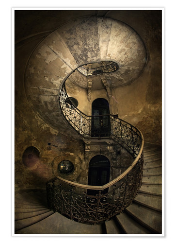 Premium poster Old spiral staircase