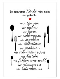 Premium poster In our kitchen (German)