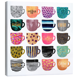 Canvas  Pretty Coffee Cups - Elisabeth Fredriksson