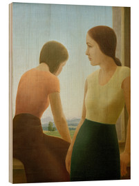 Wood  Two girls at the window - Georg Schrimpf