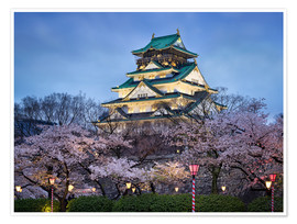 Premium poster Osaka Castle in spring for cherry blossom