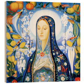 Wood print  The Virgin - Joseph Stella