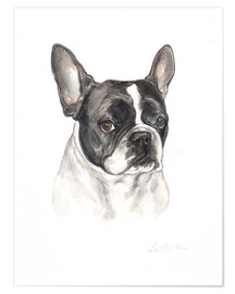 Premium poster  French bulldog, black-white - Lisa May Painting