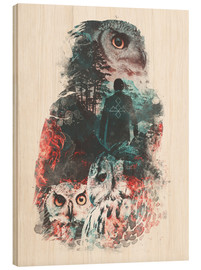 Wood print  The Owls are Not What They Seem - Barrett Biggers