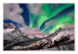 Poster Aurora Borealis or northern lights over winter landscape