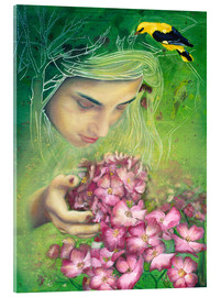 Acrylic print  Spring girl with oriole and flowers - Anouk Maria van Deursen