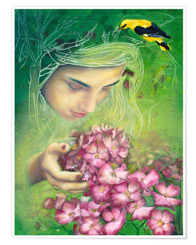 Poster Spring girl with oriole and flowers